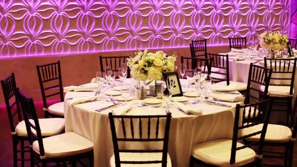 Decorated Tables At A Wedding Reception Stock Video Clippn 90960874