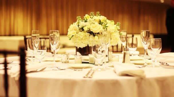 Decorated Table At A Wedding Reception Stock Video Clippn 90964050