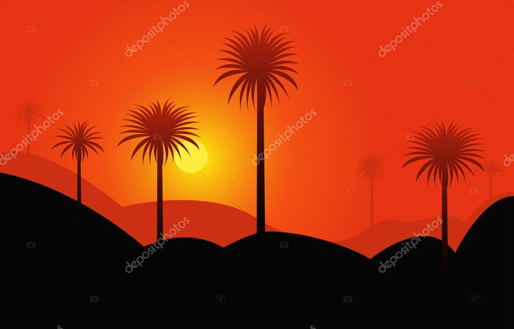 Palms in desert