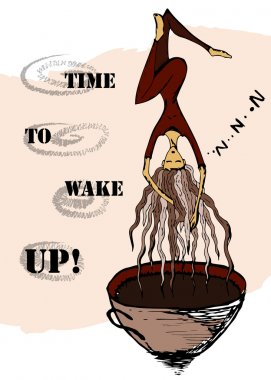 Time to wake up. Coffee and young woman sleeping