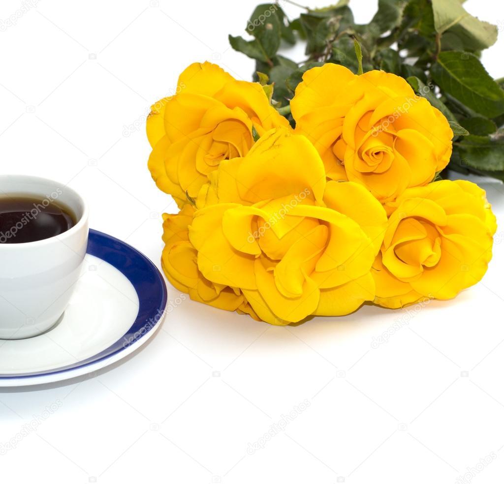 Cup Of Coffee And Yellow Flowers Isolate Stock Photo Serjiunea
