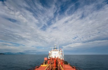 Nakhodka. Russia - July 18, 2016: The aft part of the tanker Ostrov Russkiy a bright sunny day.