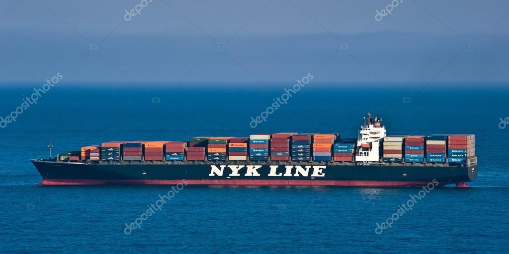 Container ship NYK Argus on the high seas.  East (Japan) Sea. Pacific Ocean. 27.05.2014