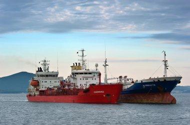 Two tanker standing side by side on the roads. Nakhodka Bay. East (Japan) Sea. 15.08.2014