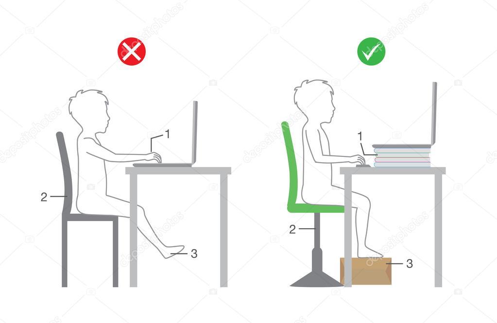 Richtige Sitzhaltung Vor Computer Kid Stockvektor Solar22 117451588