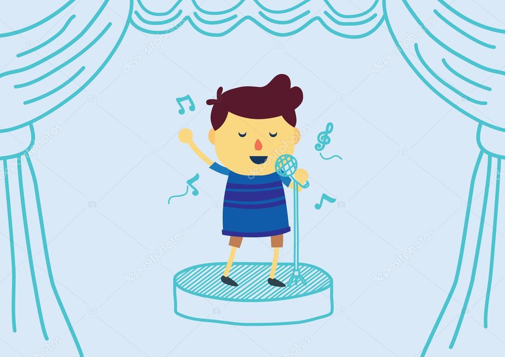 Desenho De Menino Cantando Com O Microfone No Palco