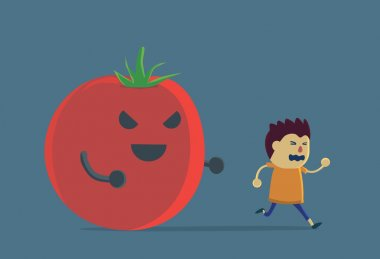 Little boy run away from tomato