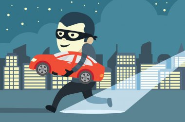 Man in mask trying to steal a car in city