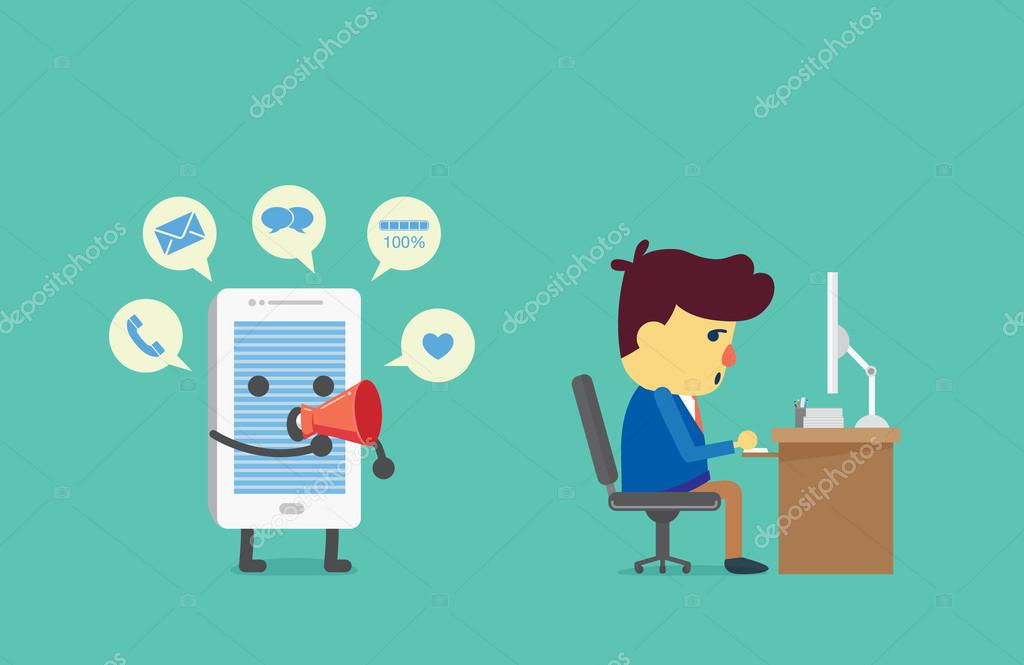 Distraction working from alert of smart phone — Stock Vector
