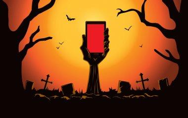Zombie hand holding smartphone
