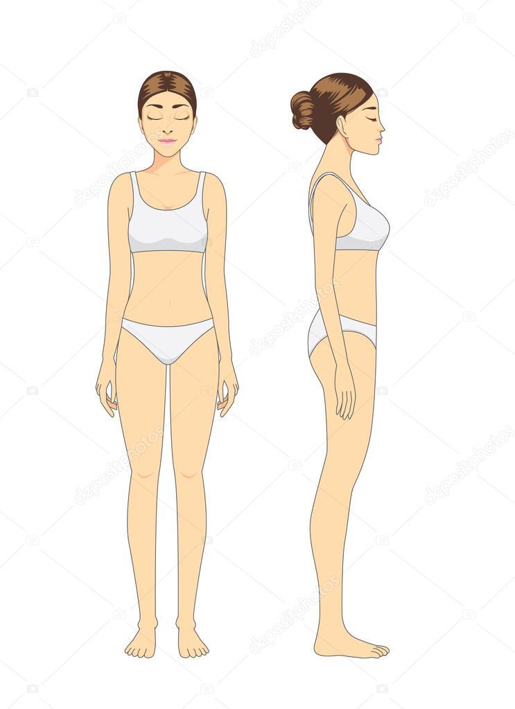 ᐈ Mujer cuerpo completo dibujos de stock, vector dibujo de mujer ...