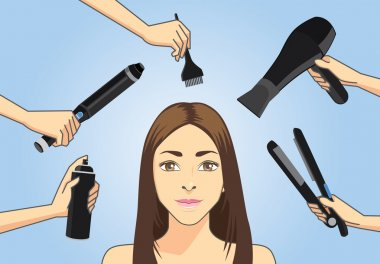 Make hair style with many hair styling tools