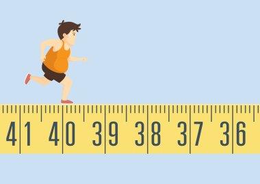 Fat man jogging on tape measure