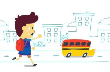 Boy hurry to school bus