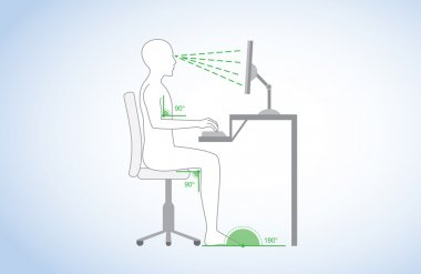 Correct posture and body angle in sitting working