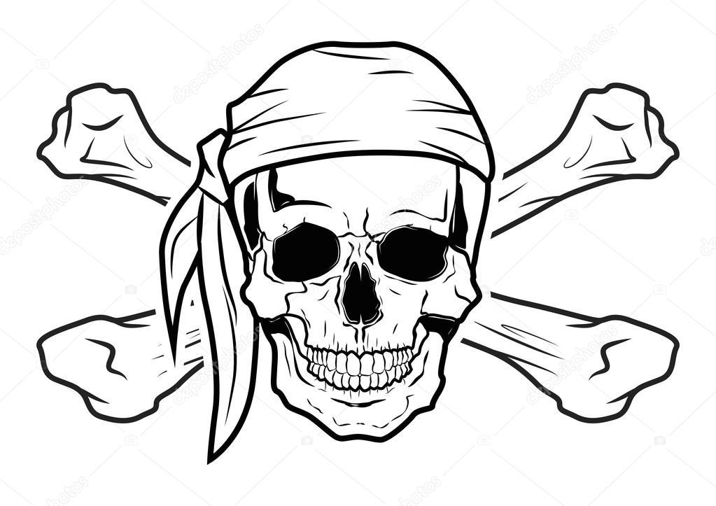 Vector Calavera Pirata Ilustración Vector Gráfico Calavera Pirata