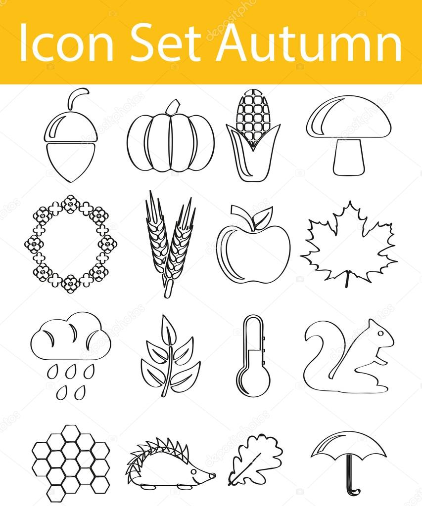 Drawn Doodle Lined Icon Set Autumn