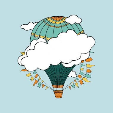 Cute banner with hot air balloon, clouds and place for your text clip art vector