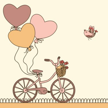 Birthday card with bicycle and balloons