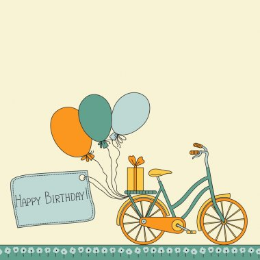 Vector illustration with bicycle, balloons and place for your text. Can be used for celebration, Birthday card clip art vector