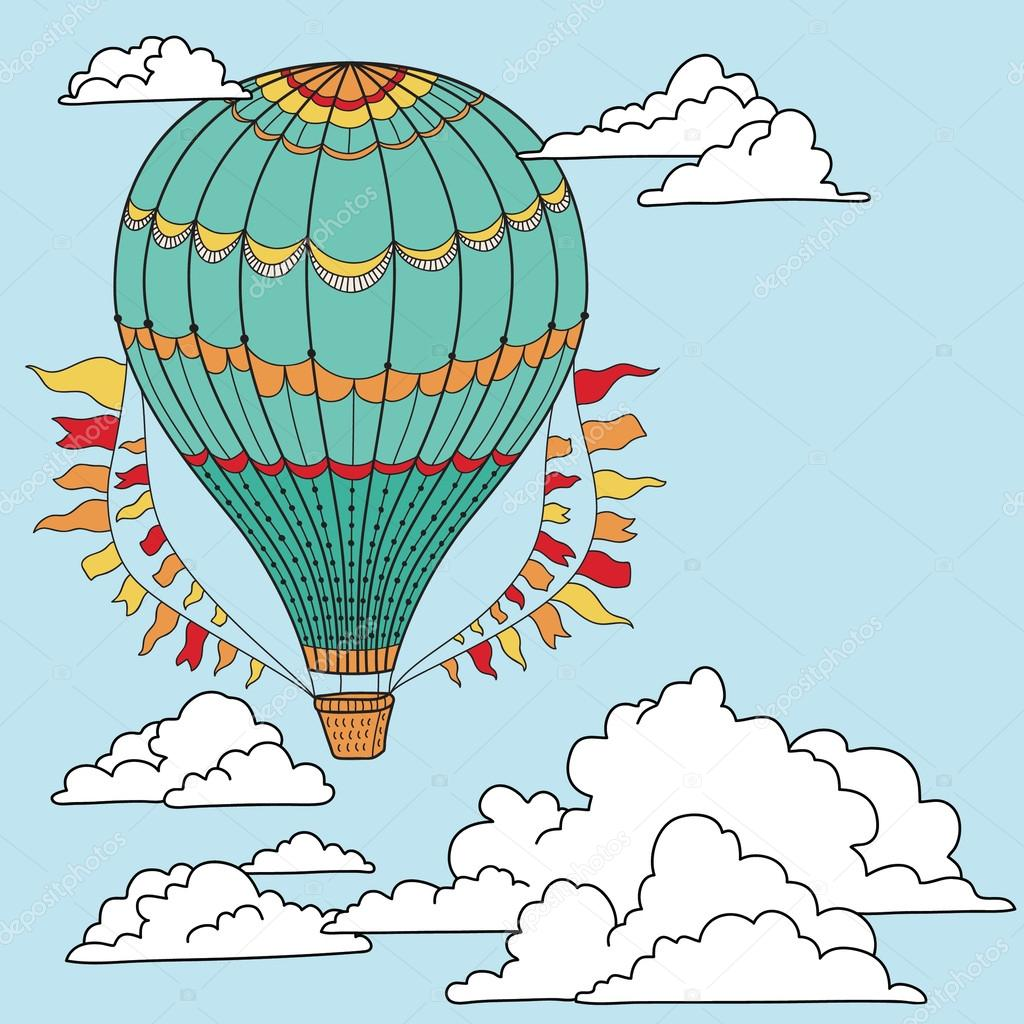 Banner with hot air balloon
