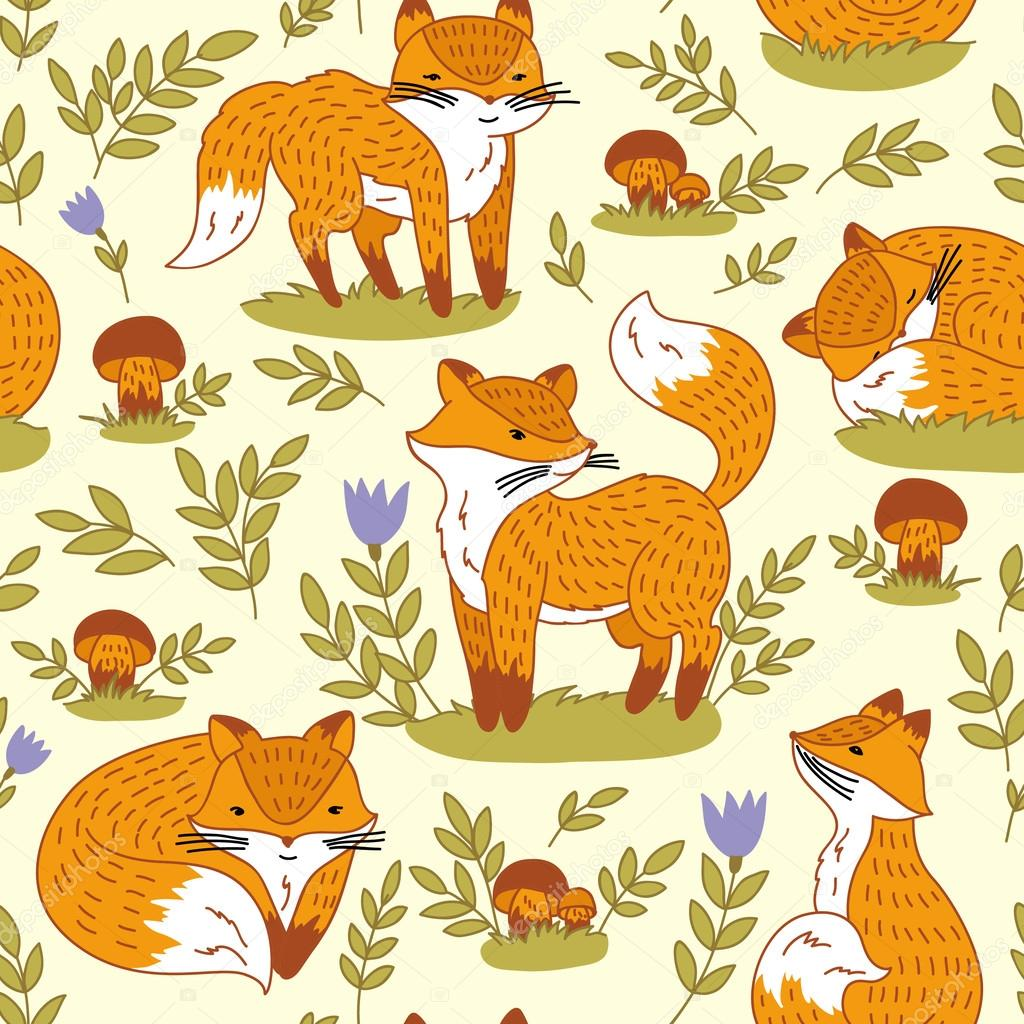 Set with cute foxes