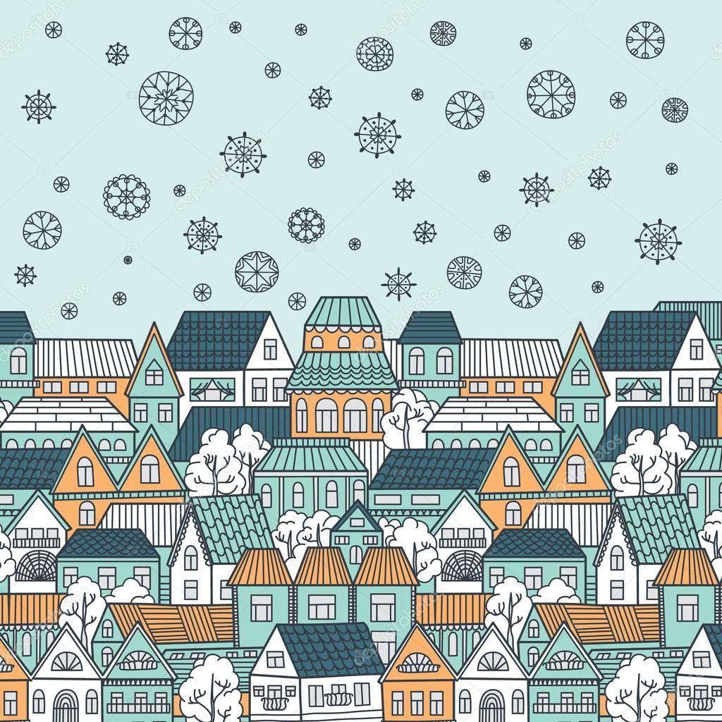 Winter city and snowflakes