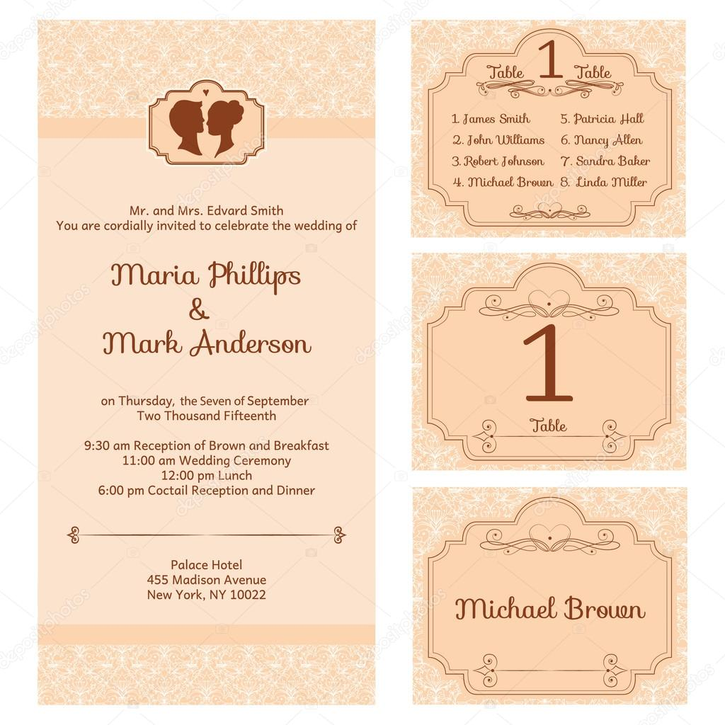 Wedding Set With Invitation Card Stock Vector