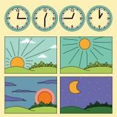 Ikony s krajinou a hodiny