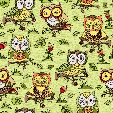 Pattern with flowers and owls.