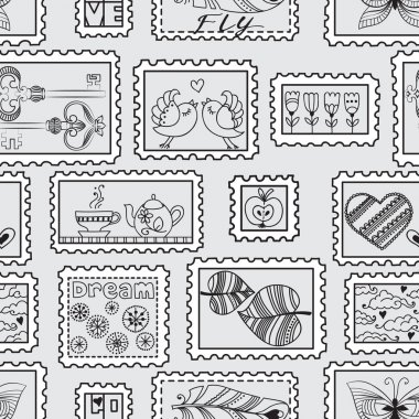 Seamless pattern with postal stamps