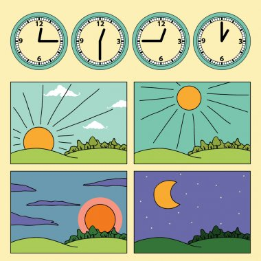Icons with landscapes and clock