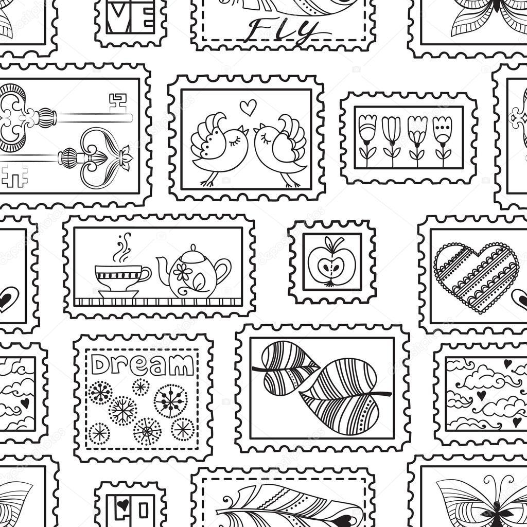 patrones sin fisuras con sellos postales — Vector de stock ...