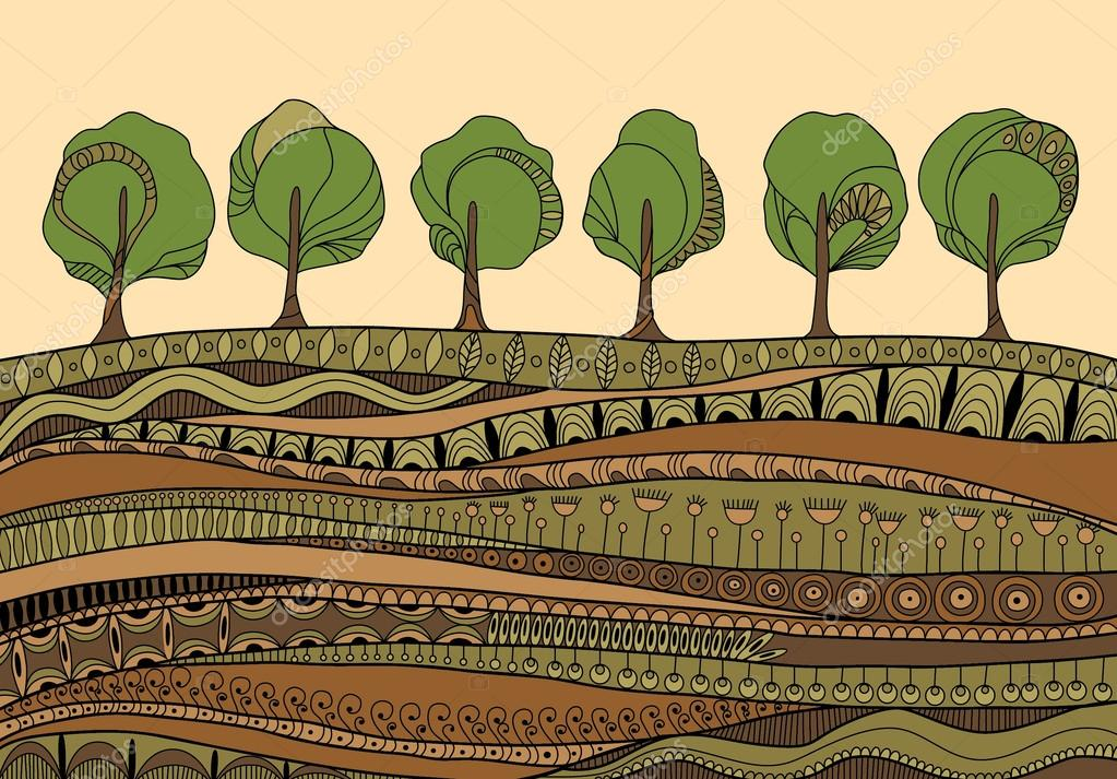 Illustration with trees