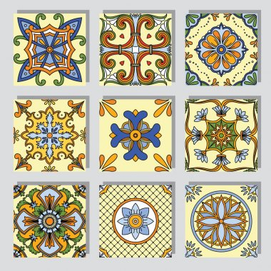 Set with seamless ornamental tile backgrounds stock vector