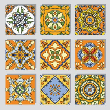 Set with Beautiful seamless ornamental tile backgrounds. Vector illustration stock vector