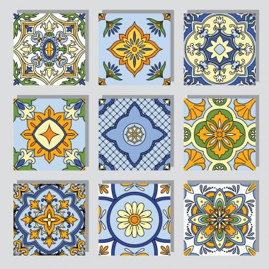Set with ornamental tile backgrounds