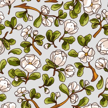 Apple blossom seamless pattern