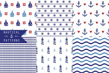 seamless patterns with sea elements