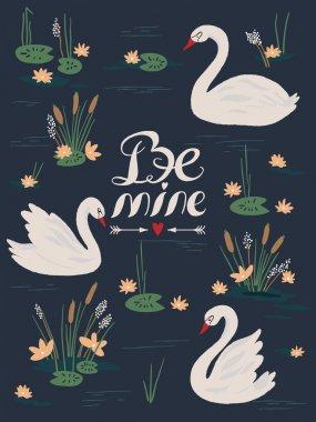 Beautiful seamless pattern with white swans