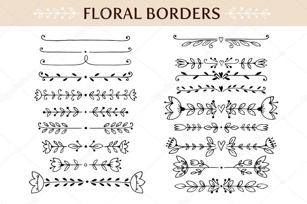 Libreta De Hojas Blancas De Dibujo Jpg By Gianferdinand: Floral Vintage Randen En Scroll Elementen. Hand Getekend