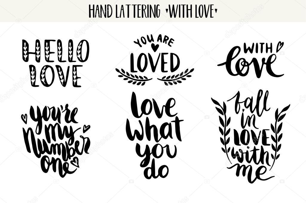 Vector Drawing Lines Quotes : Citaten valentine belettering liefde collectie