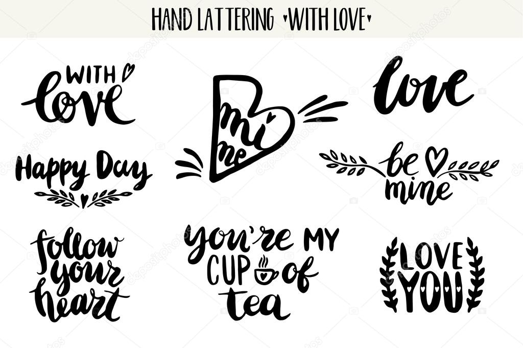 Quotes Valentine Lettering Love Collection Stock Vector
