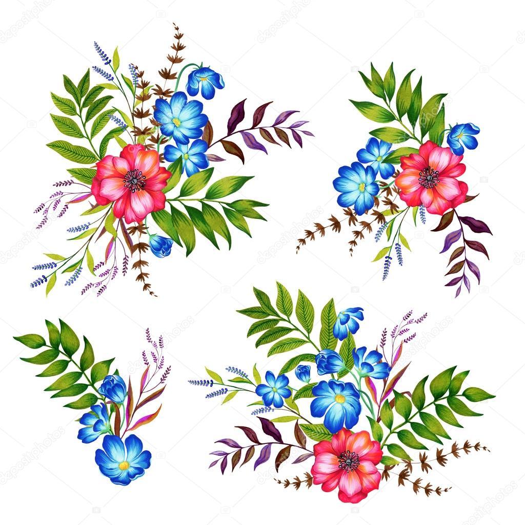 Dibujos Flores Ilustraciones Conjunto De 4 Ramos De Flores