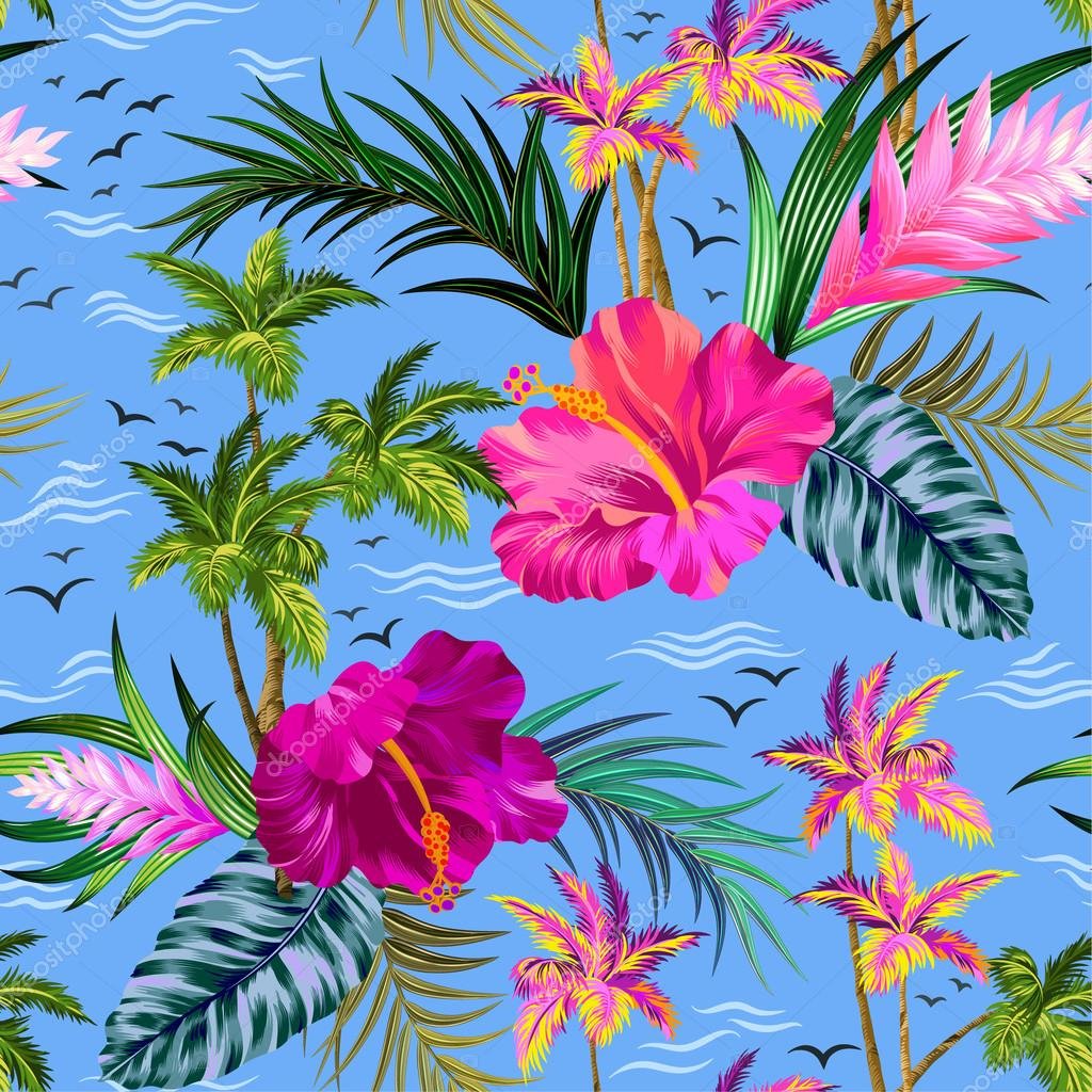 vector tropical palm trees pattern
