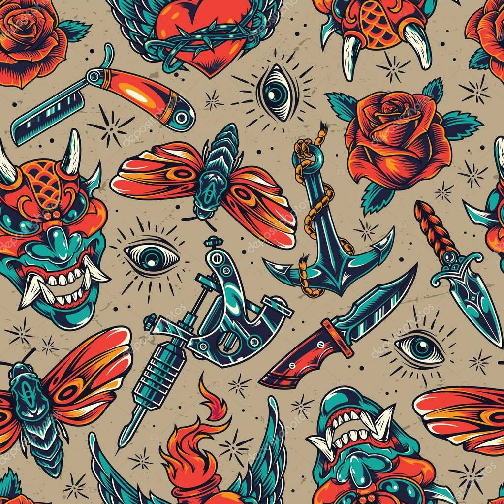 Vintage colorful tattoos seamless pattern with demon head knives straight razor butterfly roses fiery winged heart in barbed wire eye anchor tattoo machine vector illustration icon