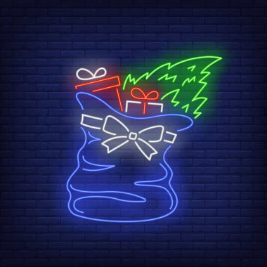 Christmas gifts in bag neon sign. Boxes, sack, fir tree. Vector illustration in neon style for topics like Xmas, New Year, giving presents icon