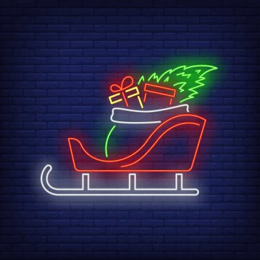 Christmas gifts in sleigh neon sign. Bag, sack, fir tree. Vector illustration in neon style for topics like Xmas, New Year, giving presents icon