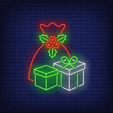 Christmas presents neon sign. Bag, sack, boxes, wrap, mistletoe. Vector illustration in neon style for topics like Xmas, New Year, giving gifts icon
