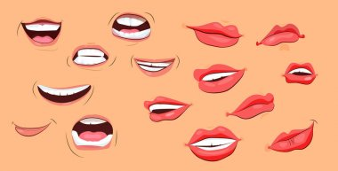 Smiles and lips icons set. Flat icons on beige background. Lips, teeth, smile. Human face concept. Vector illustration can be used for topics like psychology, anatomy, emotions icon